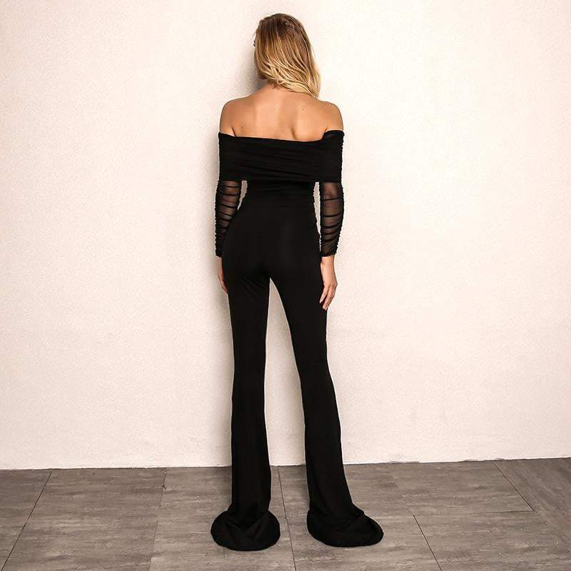 Black Off Shoulder Sexy Rompers Womens Jumpsuit - zooomberg