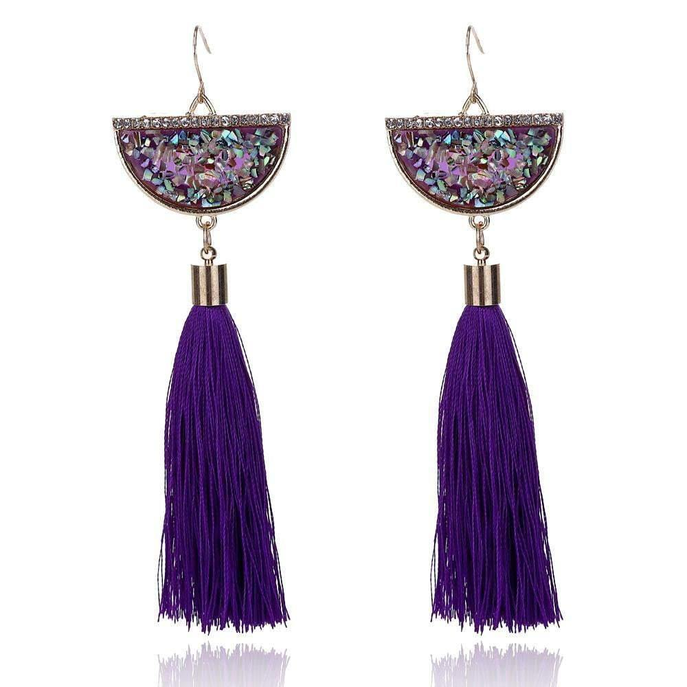 Colourful Natural Stone Long Tassel Earring - zooomberg