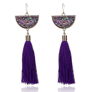 Get Colourful Natural Stone Long Tassel Earring with RS. 410.00