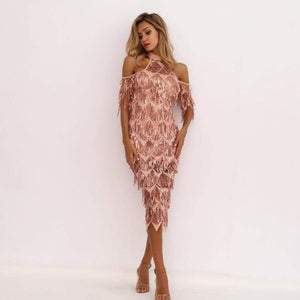 Apricot High Neck Split Sequin Women Tassel Clubwear Party Dresses - Dresses - Zooomberg - Zoomberg