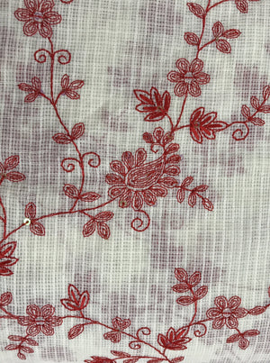 Cotton Kota Checks Floral Embroidery Fabric with Gold Sequins