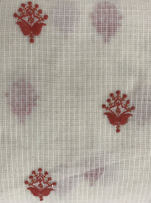 Cotton Kota Checks Floral Embroidery Fabric with Gold Sequins - Zooomberg
