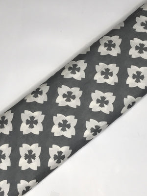 Grey Mulmul Silk Floral Digital Printed Fabric (Width - 44 inches)