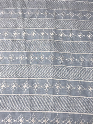 Blended Cotton Kurta Chikan Embroidery White Fabric (Width - 58 inches)