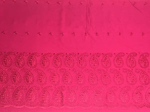 Pink Palazzo One Side Border with all over Buti Embroidery (Width - 44 inches)