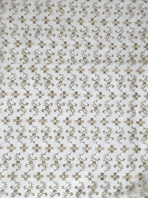Chikoo Net Floral Zari Embroidery Fabric
