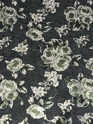 Grey and Green Floral Jacquard Brocade Fabric (Width - 60 inches)