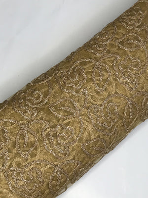 Gold Net Code Zari Embroidery Fabric (Width - 44 Inches)
