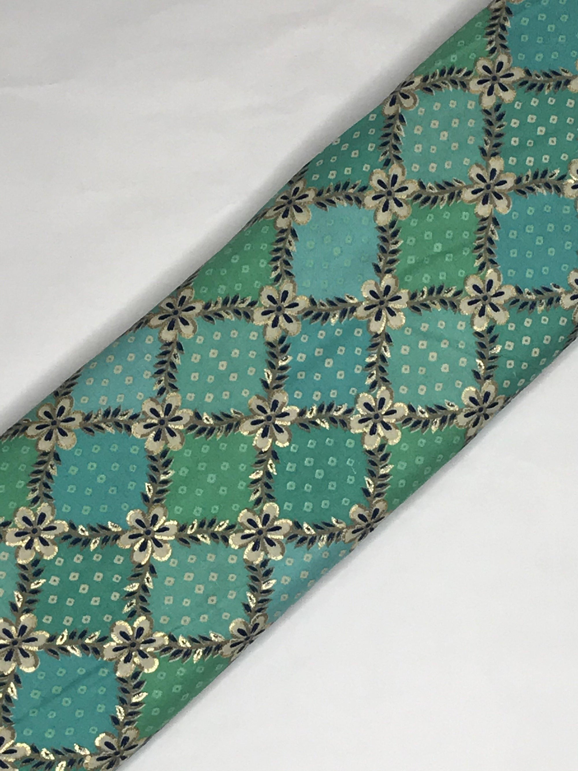 Shades of Green Rayon Gold Foil Bandhani Style Printed Fabric