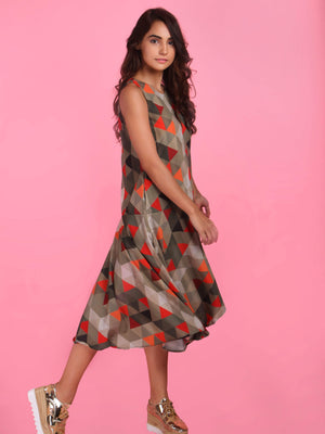 Get Geometrical Printed Frill Layer Dress with RS. 1050.00