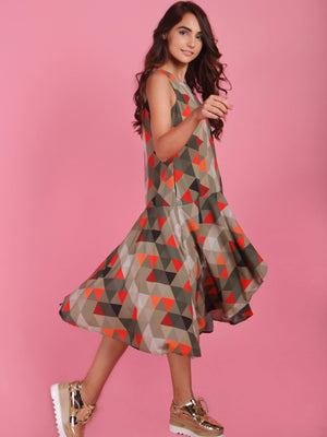 Geometrical Printed Frill Layer Dress - Dresses - Zooomberg - Zoomberg
