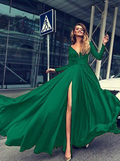 V-Neck Floor-Length Long Sleeve Maxi Dress