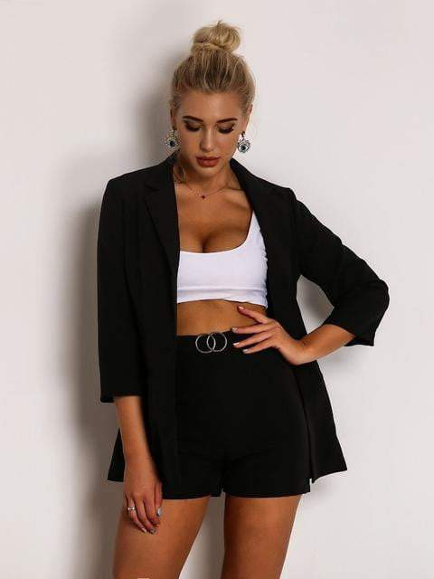 V-Neck Long Sleeve Black Summer Two-Pieces Set - zooomberg