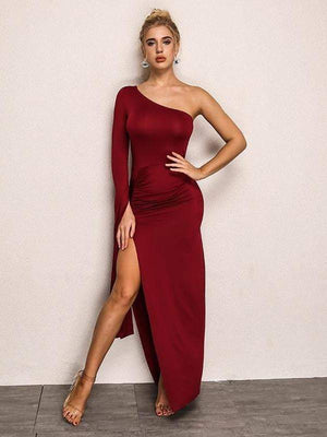 Winered Long Sleeve Elastic Dress