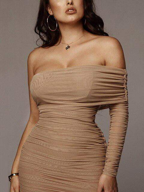 Draped Off Shoulder Strapless Long Dress - Dresses - Zooomberg - Zoomberg
