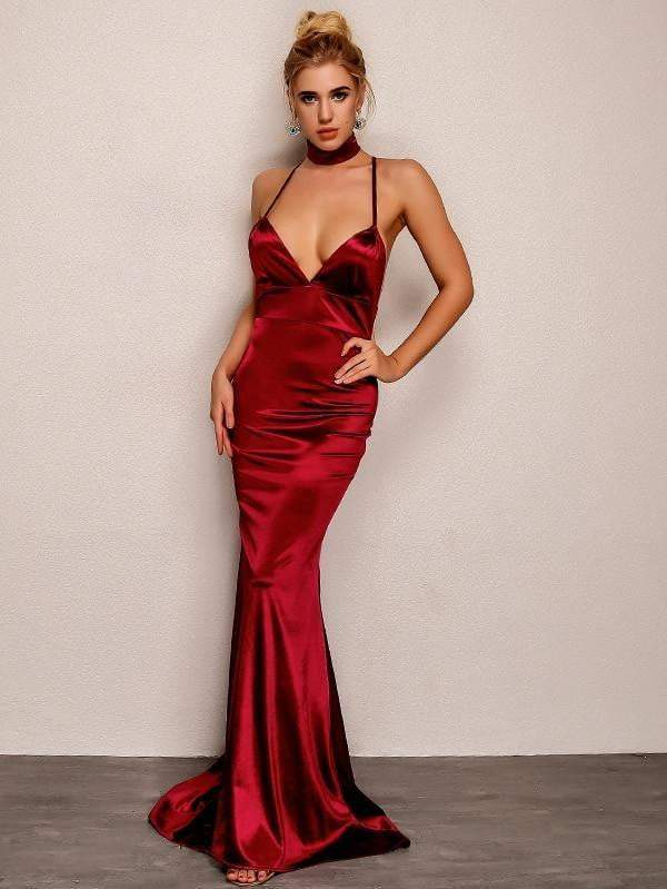 Backless V Neck Maxi Red Evening Dress - zooomberg