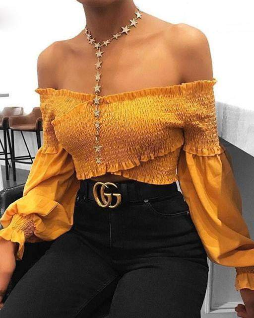 Off Shoulder Yellow Chiffon Ruffles Crop Top - Tops - Zooomberg - Zoomberg