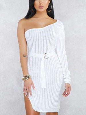 One Shoulder Women Knitting Dress - Dresses - Zooomberg - Zoomberg