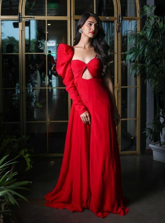 Cherry Red Twisted Cutout Jumpsuit With Dramatic One Shoulder Sleeve