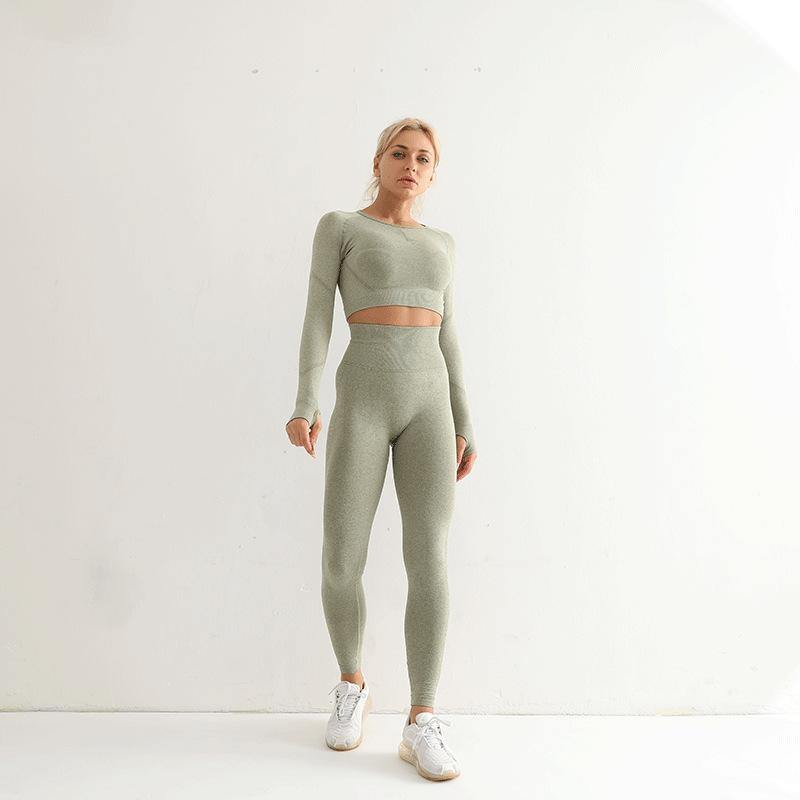 Seamless Long Sleeve High Waist Workout Suit