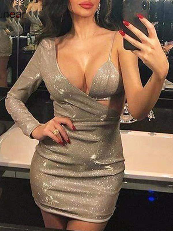One Shoulder Hollow Out Silver Mini Party Dress