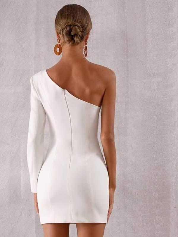 One Shoulder Long Sleeve Evening Party Dress