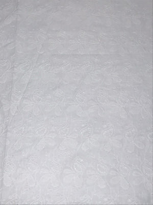 Pure Cotton White Chikan Embroidery Kurta or Dress Fabric with Holes (Width 58 inches)