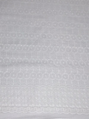 Pure Cotton White Chikan Embroidery Kurta or Dress Fabric with Holes (Two Side Border) (Width 58 inches)