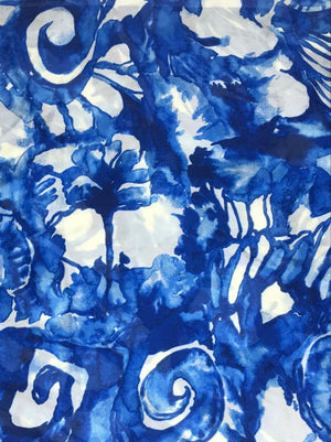 Satin Chiffon Blue Floral Printed Fabric (Width - 44 inches)