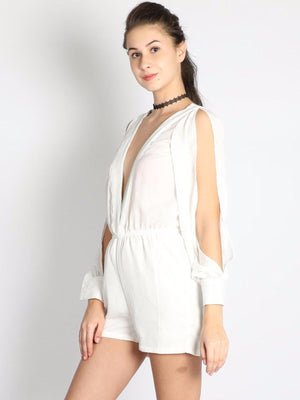 Get White Tux Neck Jumpsuit with RS. 1134.00