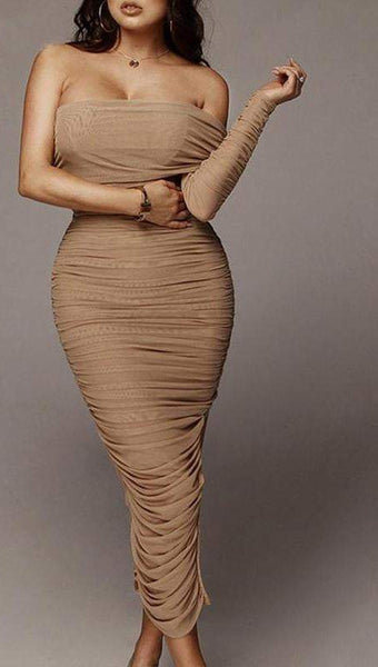 Pleated Elegant Apricot One Shoulder Split Maxi Dress