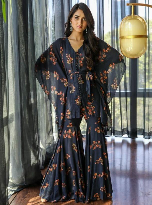 Black Floral Printed Kaftan & Gharara Pant With Belt