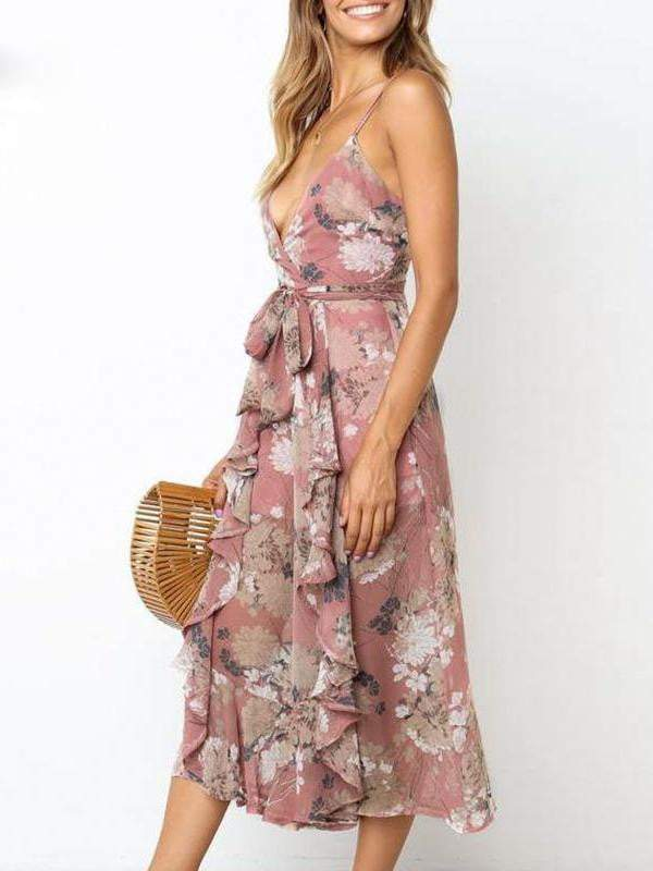 Bohemian Floral Print V-Neck Jumpsuit - Jumpsuits - Zooomberg - Zoomberg