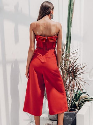 Elegant Off Shoulder Sleeveless Layer Zipper Jumpsuit - Jumpsuits - Zooomberg - Zoomberg