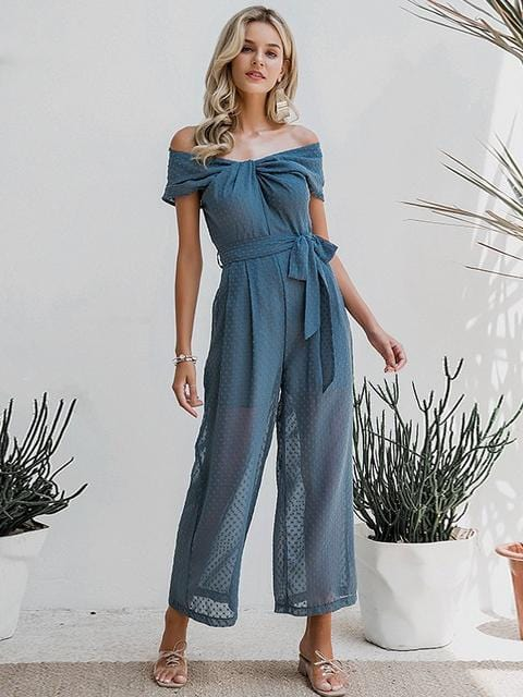 Elegant Off Shoulder Solid Sashes Office Casual Wear Jumpsuit - zooomberg