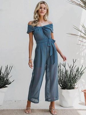 Elegant Off Shoulder Solid Sashes Office Casual Wear Jumpsuit - Jumpsuits - Zooomberg - Zoomberg