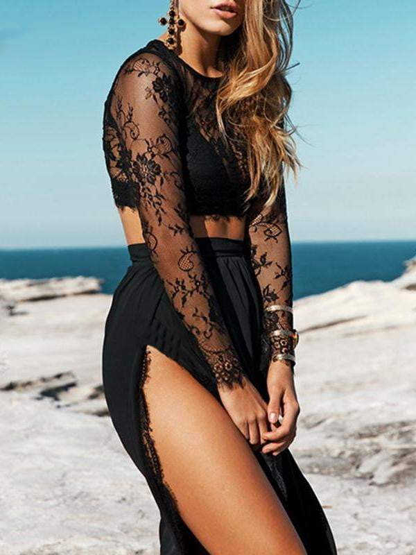 Lace Mesh Crop Top Dress Set - zooomberg