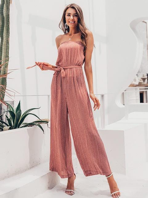 Shoulder Elegant Sashes Jumpsuit - zooomberg