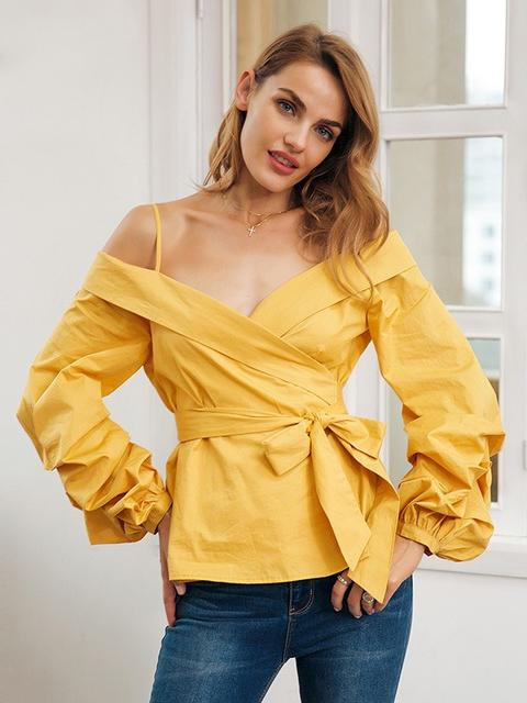 Off Shoulder Ruffle Lantern Sleeve Casual Top - zooomberg