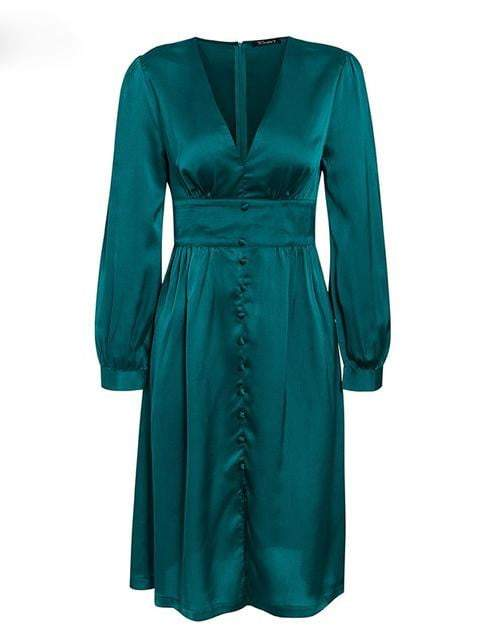 Deep V Neck Satin Vintage Long Sleeve Party Dress - zooomberg