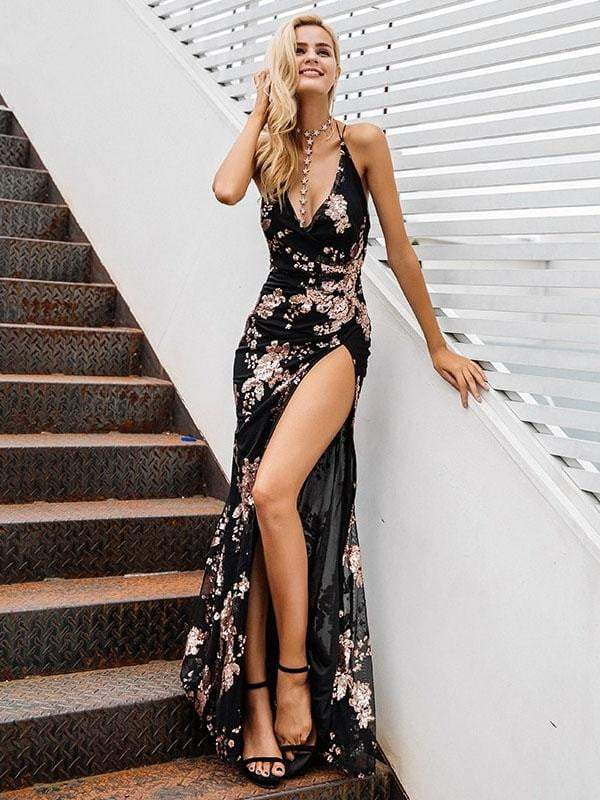 Halter Lace Up Sequin Party Dress