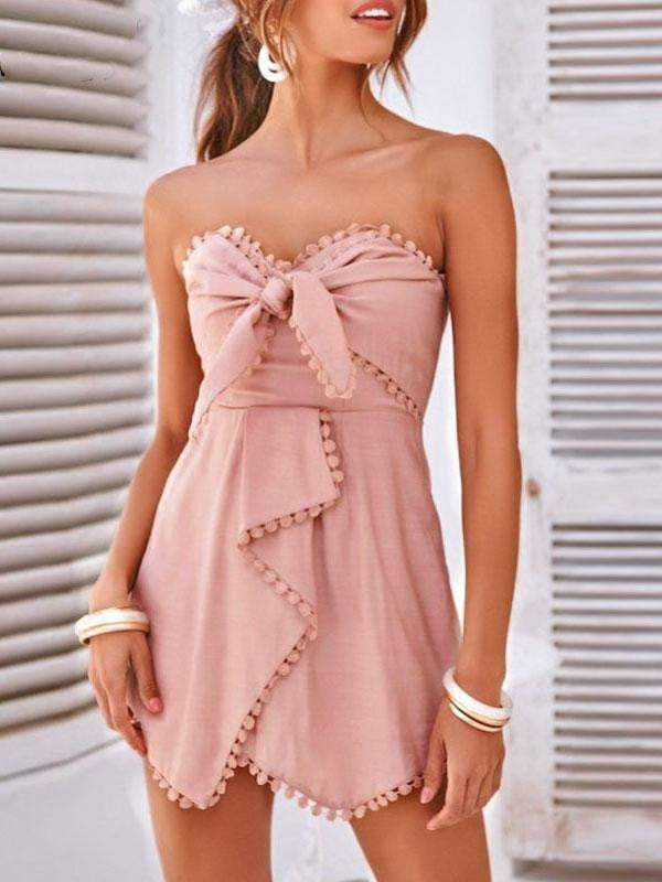 Off Shoulder Tassel Bow Short Jumpsuit - Jumpsuits - Zooomberg - Zoomberg