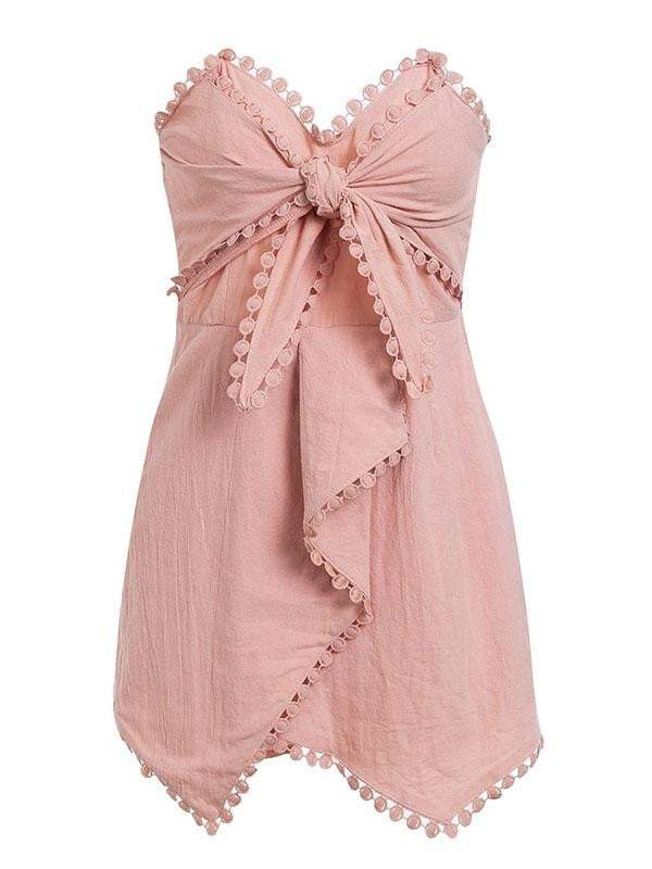 Off Shoulder Tassel Bow Short Jumpsuit