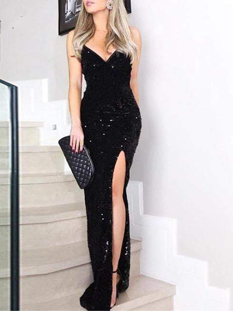 V-Neck Sequined Long Dress