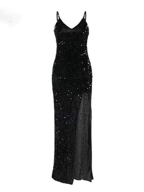 V-Neck Sequined Long Dress - zooomberg