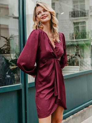 Elegant Puff Midi Sleeve Twist Pleated Satin Dress - Dresses - Zooomberg - Zoomberg