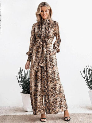 Snake Print Long Sleeve Casual Party Wear Co-ord - Two Piece Outfits - Zooomberg - Zoomberg