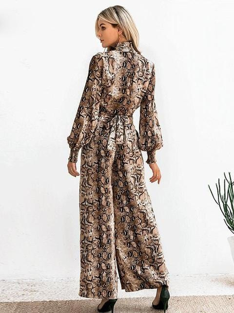 Snake Print Long Sleeve Casual Party Wear Co-ord - zooomberg