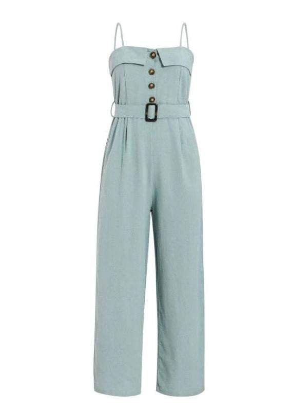 Spaghetti Strap Sash Belt Women Long Jumpsuit - zooomberg