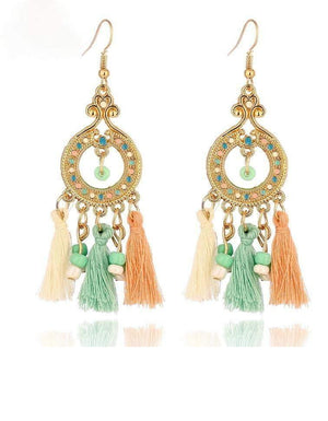 Get Vintage Boho Beads Tassel Drop Bohemian Earrings with RS. 490.00